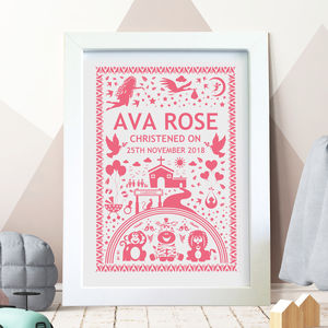 Memorable Christening Day Print Personalised - christening gifts
