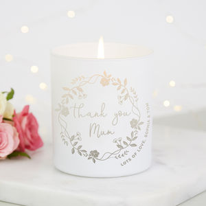 Thank You Mum Scented Candle - wedding gifts for mothers