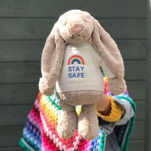Large Bashful Bunny Toy With Rainbow Stay Safe Jumper