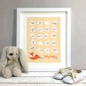 Fox Personalised Baby Shower Guest Book Print