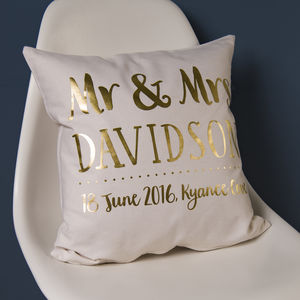 Personalised Gold Wedding Couple Cushion - wedding gifts & cards sale