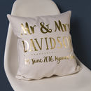 Personalised Gold Wedding Couple Cushion