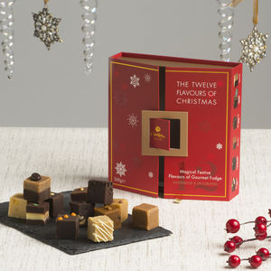 12 Flavours Of Christmas Fudge Presentation - festive food & drink