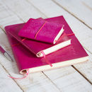 Handcrafted Fuchsia Leather Notebook