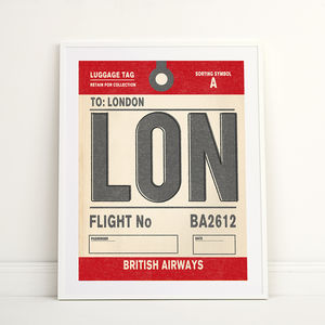 Personalised London Vintage Luggage Tag Print