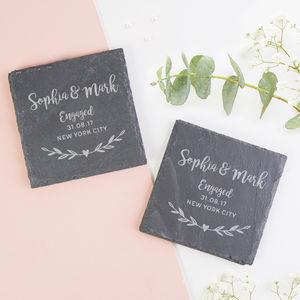 Personalised Engagement Gift Slate Coaster
