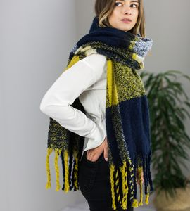 Personalised Navy To Mustard Fringed Scarf