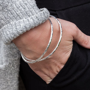 Sterling Silver Chunky Double Linked Hammered Bangle