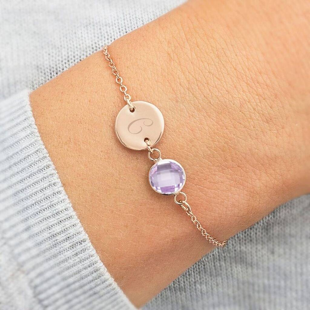 Personalised Initial Disc October Birthstone Bracelet