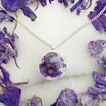 Sterling Silver Glass And Blue Flower Petal Necklace