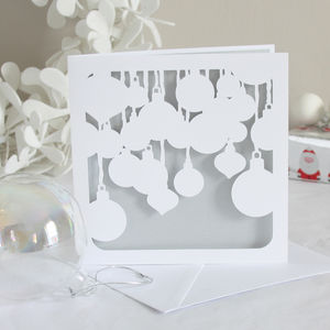 Baubles Papercut Christmas Card
