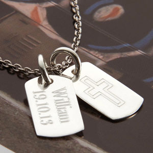 Personalised Silver Double Mini Dog Tag Necklace - christening jewellery