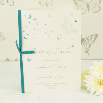 Papillon Wedding Order Of Service A5 Booklet