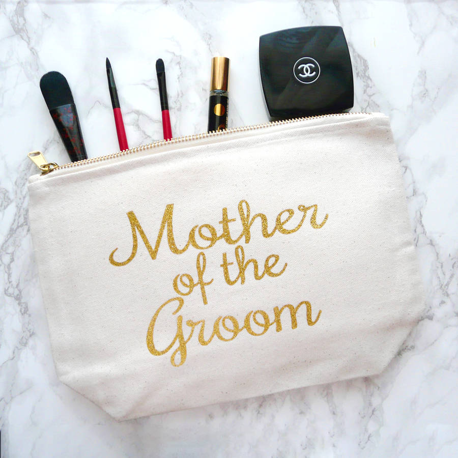 Mother Of The Groom Gold Glitter And Canvas Make Up Bag