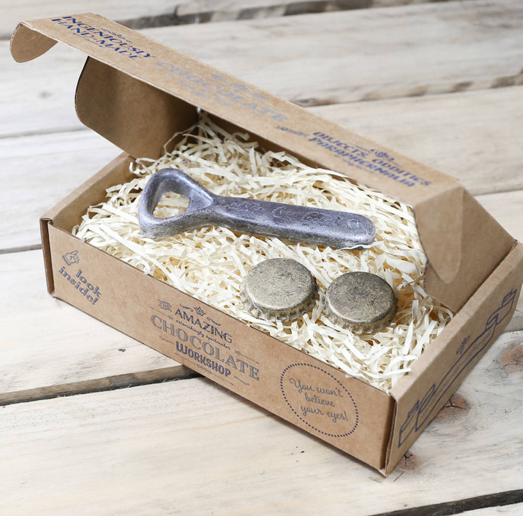 Chocolate Bottle Opener And Bottle Tops Gift Box