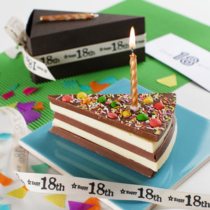 16/18/21st Birthday Chocolate Cake With Candle And Card