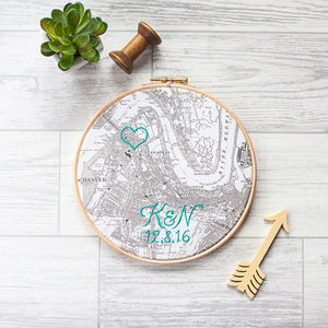 Personalised Cotton Embroidered Map Hoop - 2nd anniversary: cotton