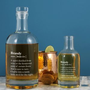 Witty Personalised Brandy Definition Bottle. Two Sizes