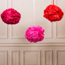 Pack Of Three Valentine's Pom Poms