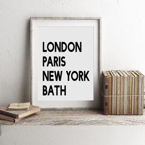 London Paris New York Your City Print