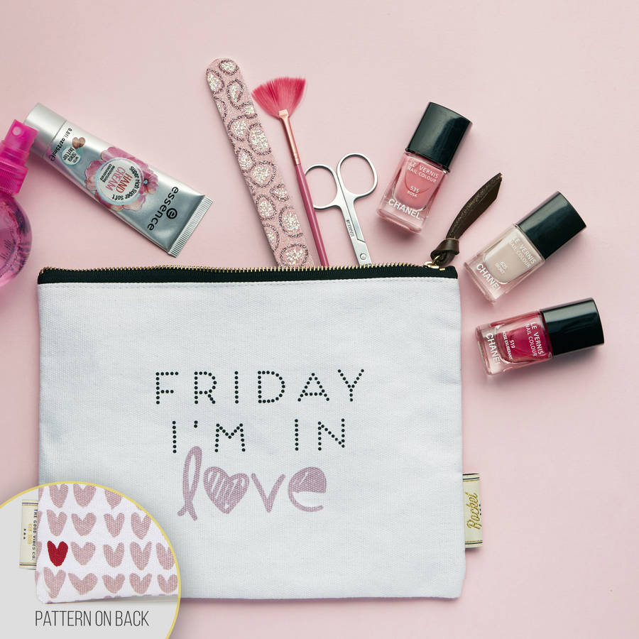 Make Up Bag With Slogan And Pattern 'Friday I'm…'