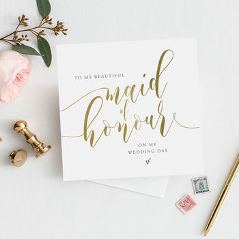 To My Maid Of Honour Thank You Card | Gold Effect