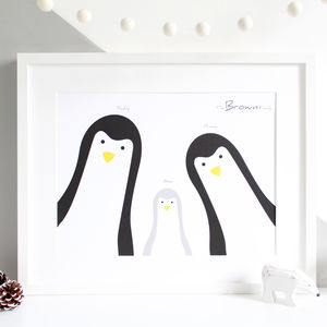 Penguin Family Selfie, Personalised A3 Print - baby's room