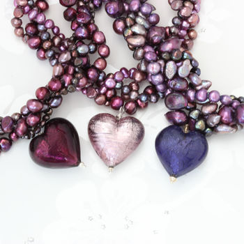 deep purple, light and dark amethyst murano heart and pearl necklace