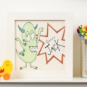 Personalised Little Monster Framed Tile Picture - nursery pictures & prints