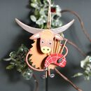 Christmas Highland Cow Coo Bagpipes Hanging Decoration