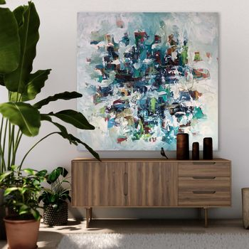 Large Square Original Acrylic Abstract Canvas Painting