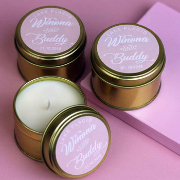 Pink Personalised Wedding Favour Candles In Gold Tin