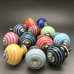 Ceramic Striped Door Knobs Cupboard Pull Handles