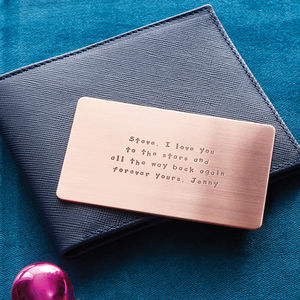 Personalised Metal Wallet Insert Card - love tokens for him