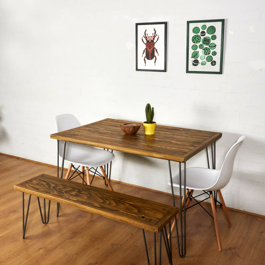 Dining Table With Chairs And Bench: Reclaimed Pallet Dining Table And Bench Hairpin Legs By
