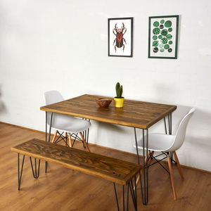 Reclaimed Pallet Dining Table And Bench Hairpin Legs - kitchen