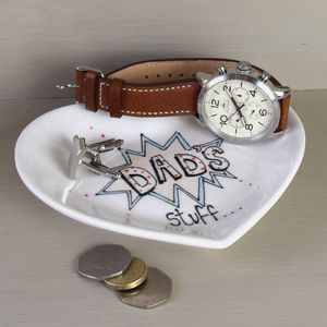 Personalised Dad's Heart Dish - cufflink boxes & coin trays