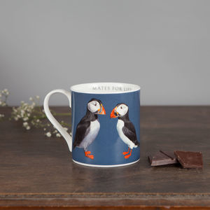 Large Bone China Puffin Mug