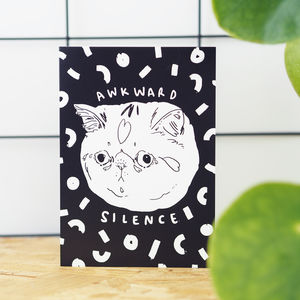'Awkward Silence' Cat Greetings Card