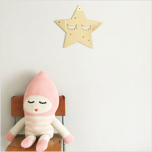 Sleepy Star Gold Mirror Acrylic Wall Decoration - children's mirrors