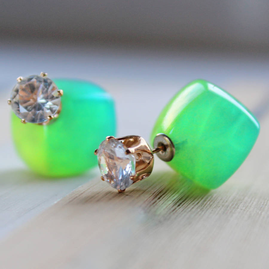 Green Two Way Earrings