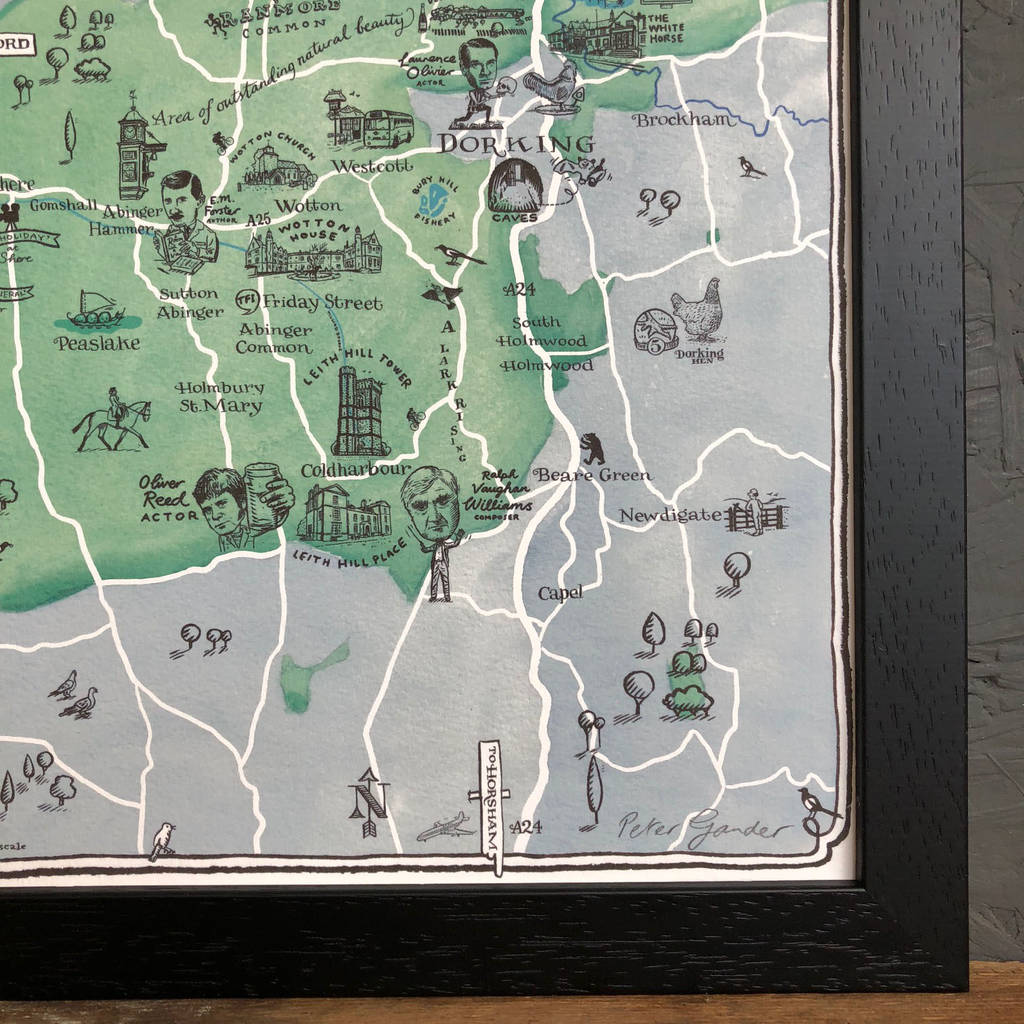 Map of dorking signed print by have a gander notonthehighstreet map of dorking signed print altavistaventures Gallery