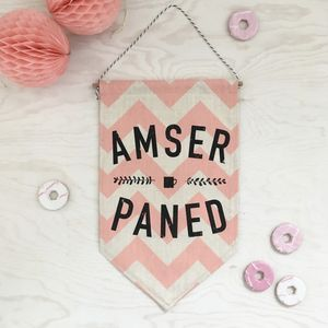 'Amser Paned' Welsh Banner - home accessories