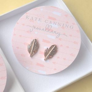 Rose Gold Feather Stud Earrings - earrings