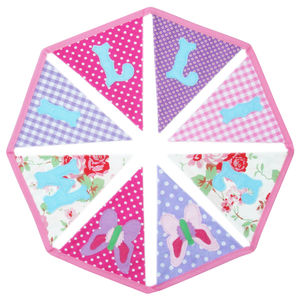 Personalised Childrens Bunting: Girls Pinks And Purples
