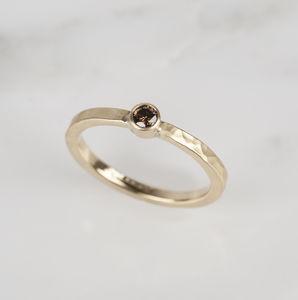 Chocolate Diamond 18ct Yellow Gold Engagement Ring - gold & diamonds