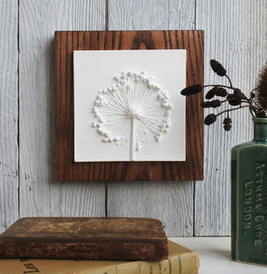 Allium Seed Head Plaster Cast Tile Mounted On Wood - nature & landscape