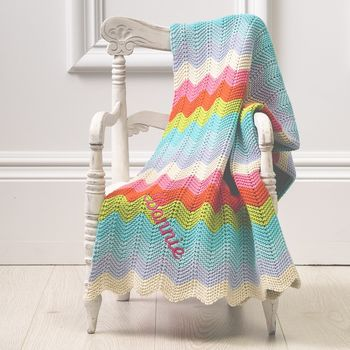 Personalised Rainbow Chevron Knitted Baby Blanket
