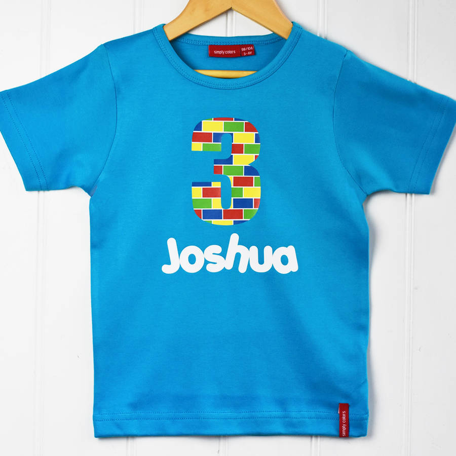 Personalised Childrens Birthday Building Block T Shirt