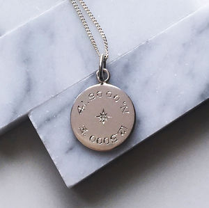 Diamond Latitude And Longitude Necklace In Silver